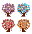 four tree with ribbons vector image vector image