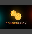 golden luck concept shiny realistic metallic two vector image
