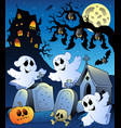halloween scenery with cemetery 6 vector image vector image