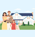 happy family home young couple with kids in front vector image