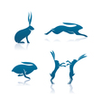 hare icon cartoon rabbit icon set vector image