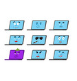 laptop set emotion avatar sad and angry face vector image vector image