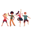 Little kids dancing expressively cartoon style vector image vector image