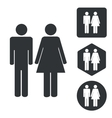 Man woman icon set monochrome vector image