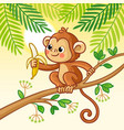 monkey sits on a tree and eats a banana cute vector image vector image