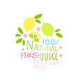 natural fresh juice 100 percent original logo vector image