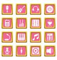 recording studio symbols icons set pink square vector image vector image