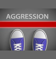 red line and the word aggression vector image
