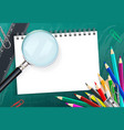 School background with colorful pencils and vector image