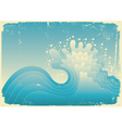 sea wave vintage vector illustration of sea with g vector image vector image