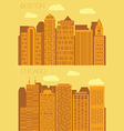 Set 2 flat background city Boston and Chicago vector image vector image