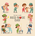 set red nose day greeting card medical doctor in vector image vector image