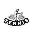 silhouette tennis player logo designs inspiration vector image