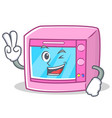 two finger oven microwave character cartoon vector image