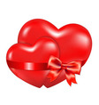 Two Red Hearts With Red Bow vector image vector image