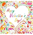 Valentines card with bright doodle floral pattern vector image vector image