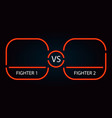 versus neon red battle frame and background vector image vector image