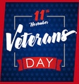 veterans day greeting card blue vector image vector image