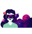 virtual reality mask woman in cyber space vector image