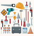 white background with colorful icons of tools vector image vector image