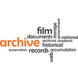 word cloud archive vector image vector image