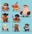 cartoon aborigine shaman pirate game sprite cute vector image