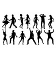 black and white dancing silhouettes set vector image