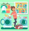 housewife in the laundry room vector image