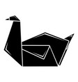 origami swan icon simple black style vector image