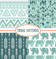 Set of tribal striped seamless pattern Geometric vector image
