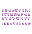3d purple alphabet and numbers for ui games text vector image vector image