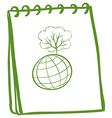 A green notebook with a globe at the front page vector image vector image