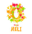 abstract colorful happy holi background with hand vector image vector image