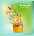 basket with fresh natural vegetables vector image