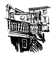 black and white sketching of old building in Budva vector image