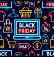 black friday neon seamless pattern vector image vector image