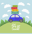 blue car with luggage on the roof for long vector image vector image
