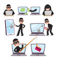 cartoon hackers using laptop stealing money vector image