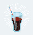 cola glass with ice cubes isolated on blue photo vector image vector image