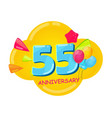 cute cartoon template 55 years anniversary vector image vector image