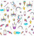 cute unicorn seamless pattern background vector image