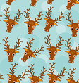 Deer Seamless pattern with funny cute animal face vector image vector image