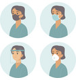 different types medical protective face gear vector image vector image