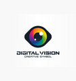 digital vision cyber eye color lens creative vector image