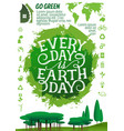 earth day banner with ecology protection icon vector image vector image