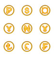 finance icon set cartoon style vector image