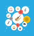 flat icons lyre octave keyboard knob and other vector image vector image