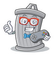 gamer trash character cartoon style vector image vector image