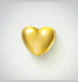 golden realistic heart isolated on white vector image vector image