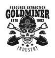 goldminer skull and crossed shovels emblem vector image vector image